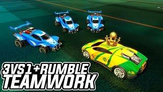 3VS1 COM RUMBLE! TEAMWORK 10/10?! c/ Gf, Porto e Killer - Rocket League