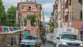 Rome, Italy: Streets of Rome with people engaging in daily activity timelapse