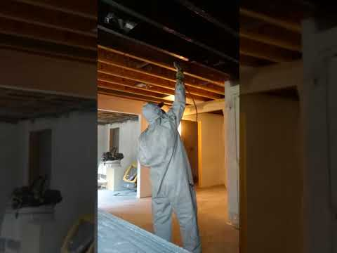Spraying DTM Primer on metal furnishings on the ceiling.mp4