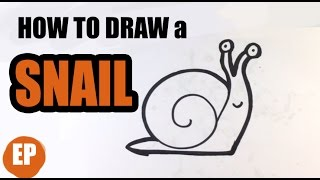 How to Draw a Snail (cute) - Easy Pictures to Draw