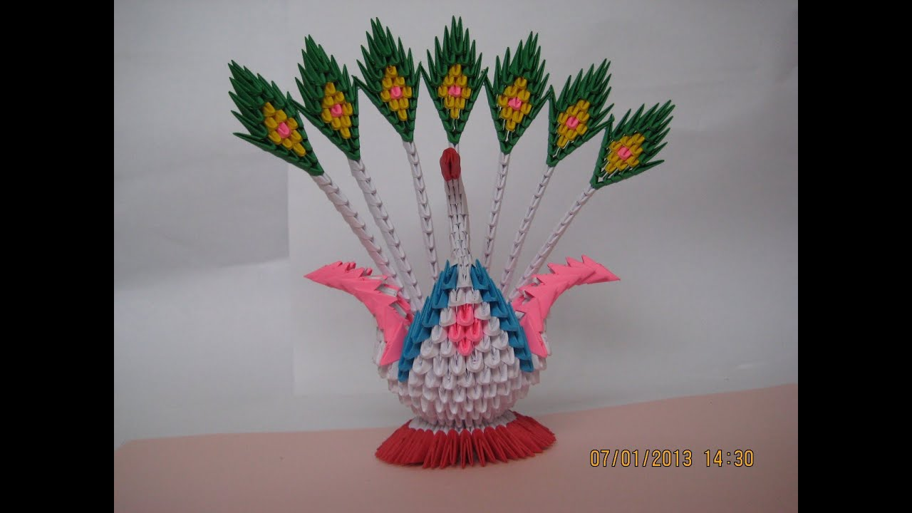 3D Origami Swan/Peacock with 7 Tails (629 pieces) - YouTube - photo#43