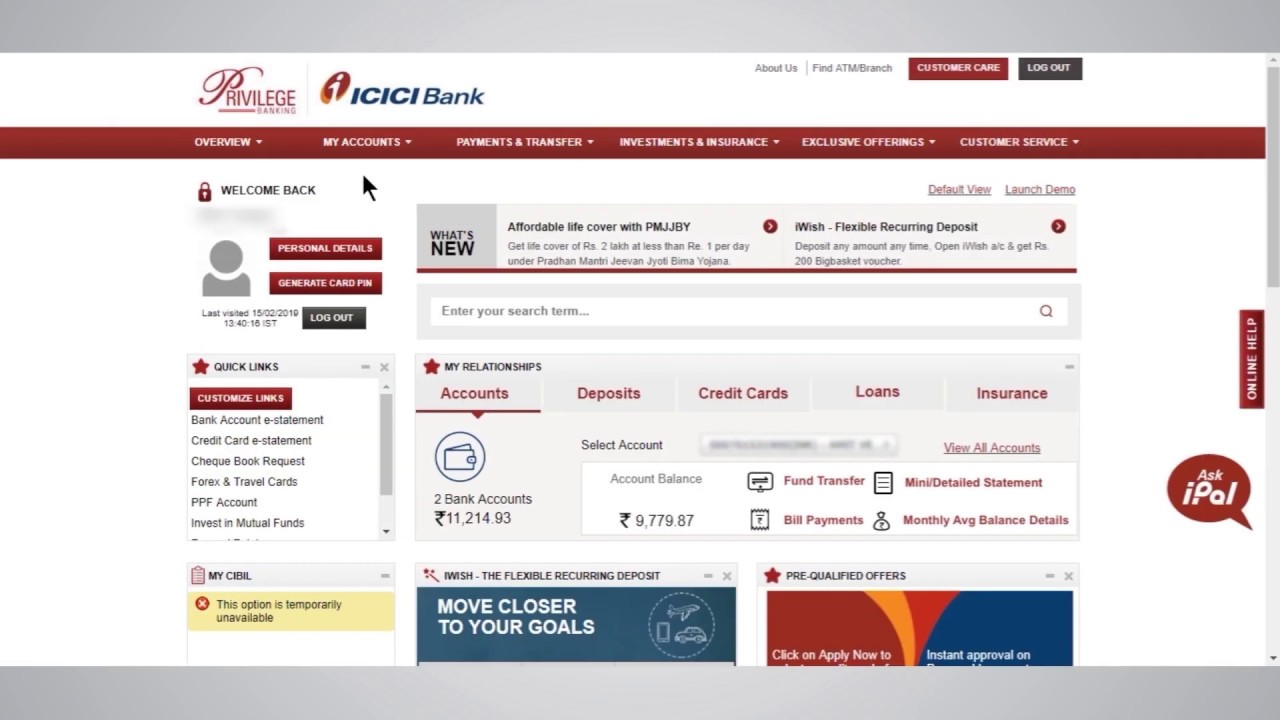 icici net banking application online