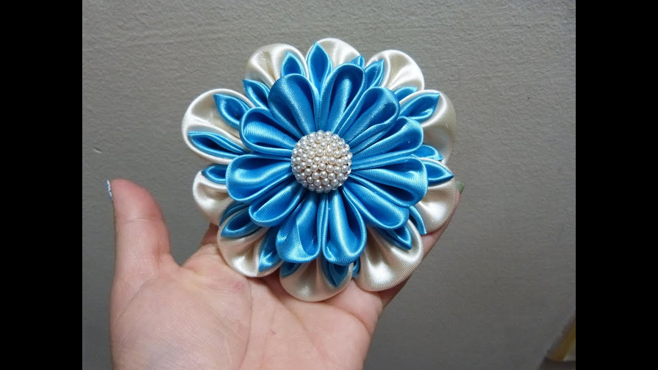 Como hacer flor grande de tela how to make kanzashi fabric flower youtube - Flores de telas hechas a mano ...