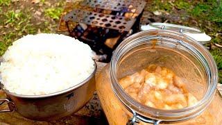 焚火で味噌漬けホルモンと日本昔話盛り御飯とホルモンチャーハン!!