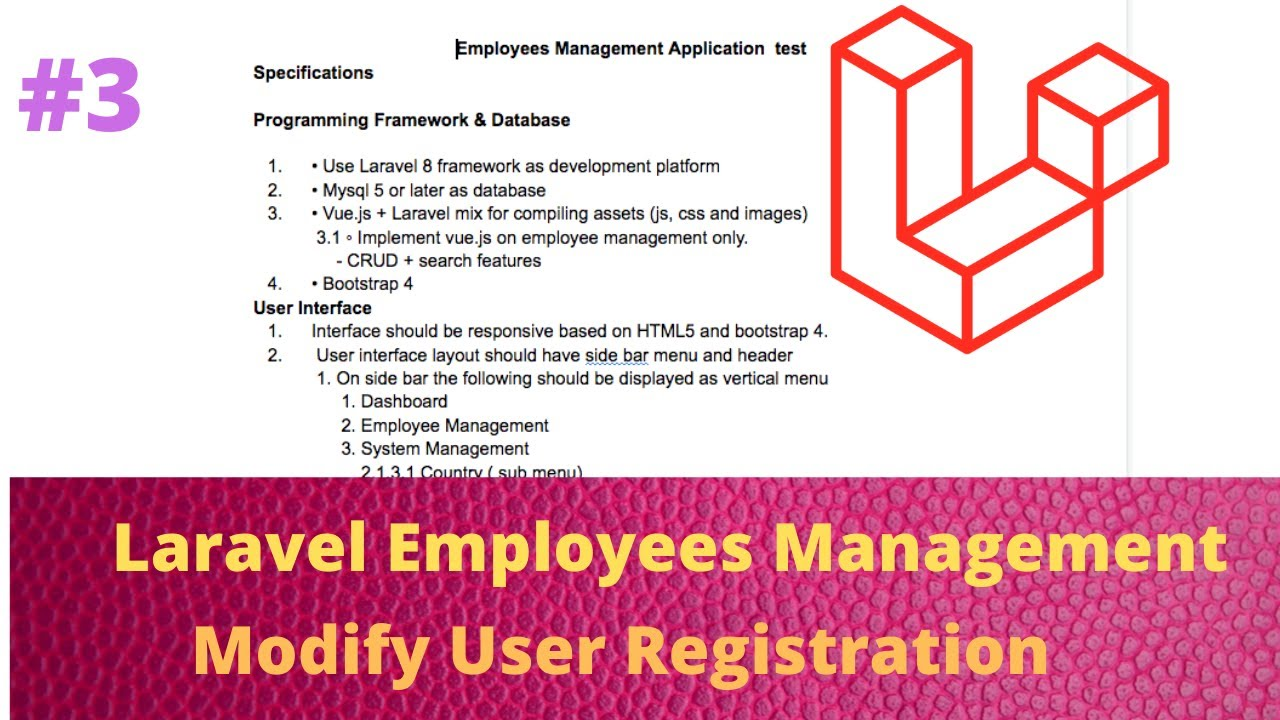 Employees Management Application with Laravel and Vuejs - Modify User Registration 03