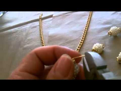 Χειροποίητες Κατασκευές Κολιέ κοντό με αλυσίδα και πέρλες