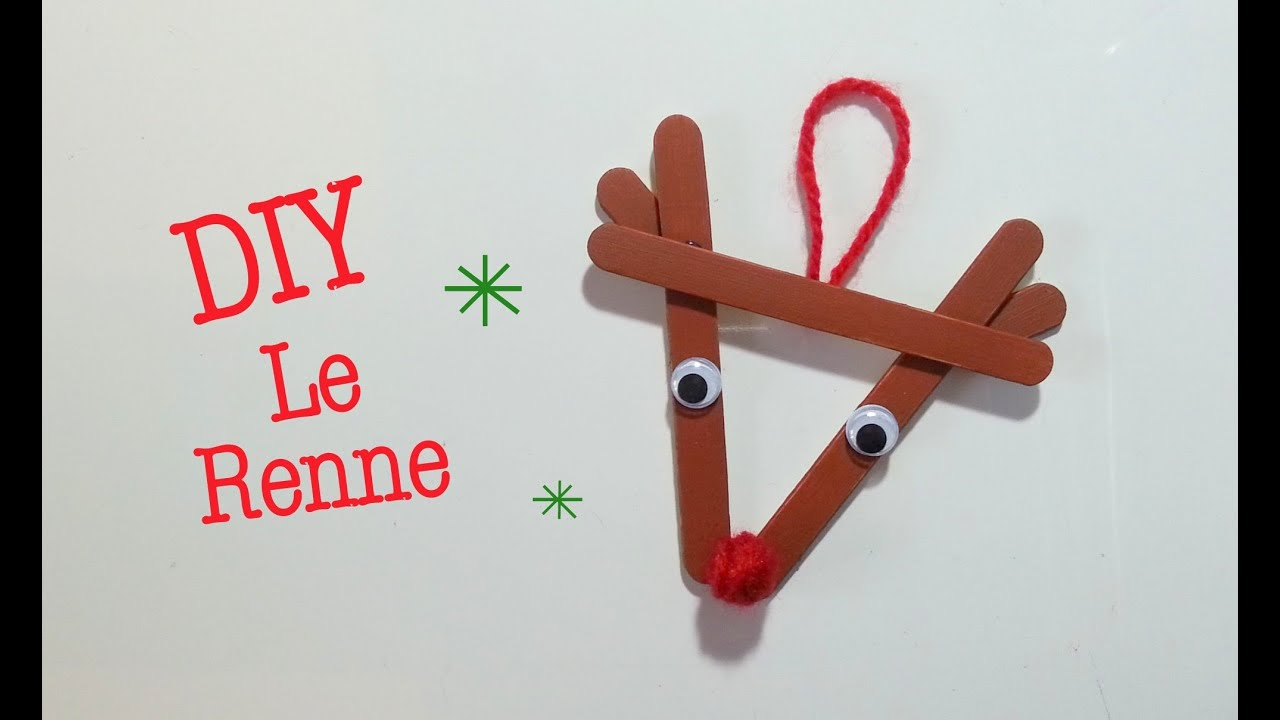 Diy d co noel renne avec b ton de bois youtube for Decoration porte renne