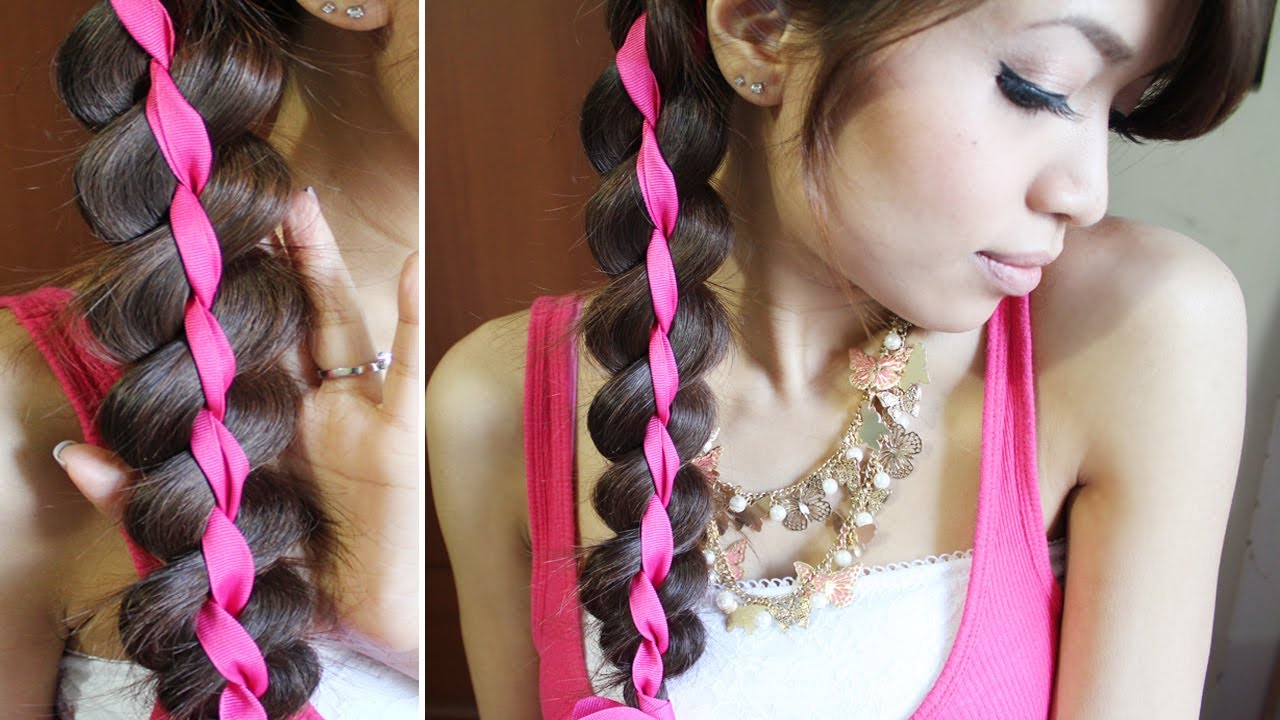 4 Strand Ribbon Braid Headband Hairstyle For Medium Long Hair Tutorial