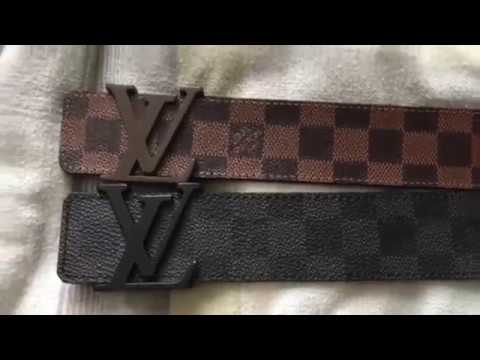 2bc898f88c2 Louis Vuitton Belt  Real vs Fake (Damier Graphite) 1080 HD - YouTube