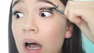 First Time Putting FAKE Eyelashes On! + Tips | Fiona Frills
