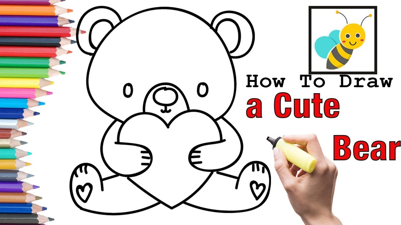How To Draw A Heart Cute Bear Gift Box For Valentines Day Mothers