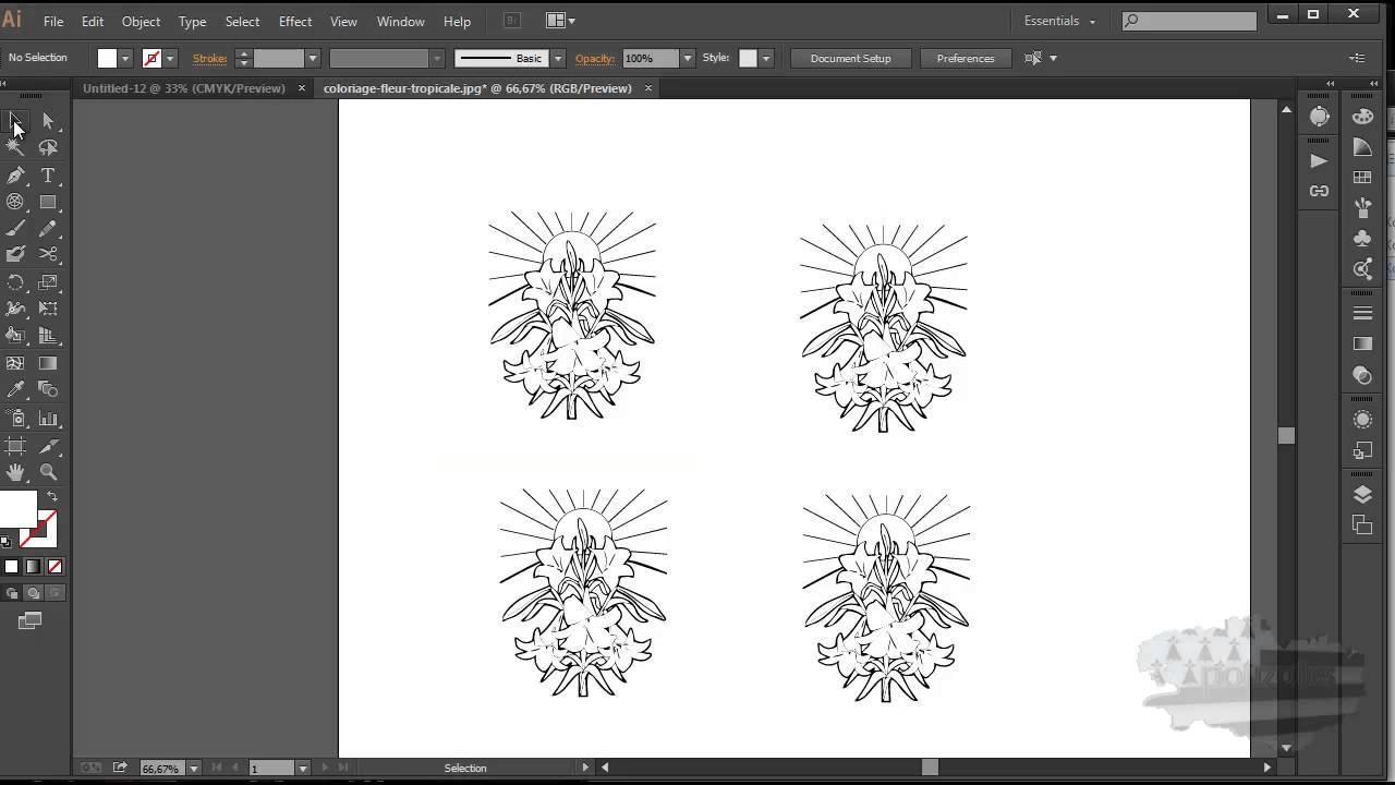 Coloriage Fleur Ms.Tuto Illustrator Dupliquer Rapidement Youtube