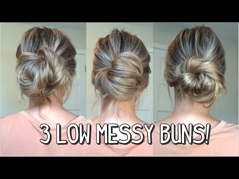3 WAYS TO DO A LOW MESSY BUN PART 2! LONG, MEDIUM, AND LONG HAIRSTYLES!