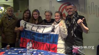 Poets of the Fall & fan flag in Moscow Muztorg 2.11.2016