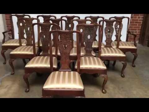 Set of 12 Mahogany Georgian Henredon Dining Chairs