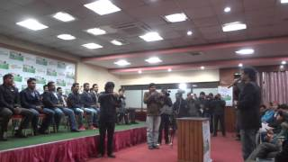"Rajesh Hamal congratulates Nepal Cricket team at ""Bishwa T-20 Cricketka Sarathiharu"" book launch"