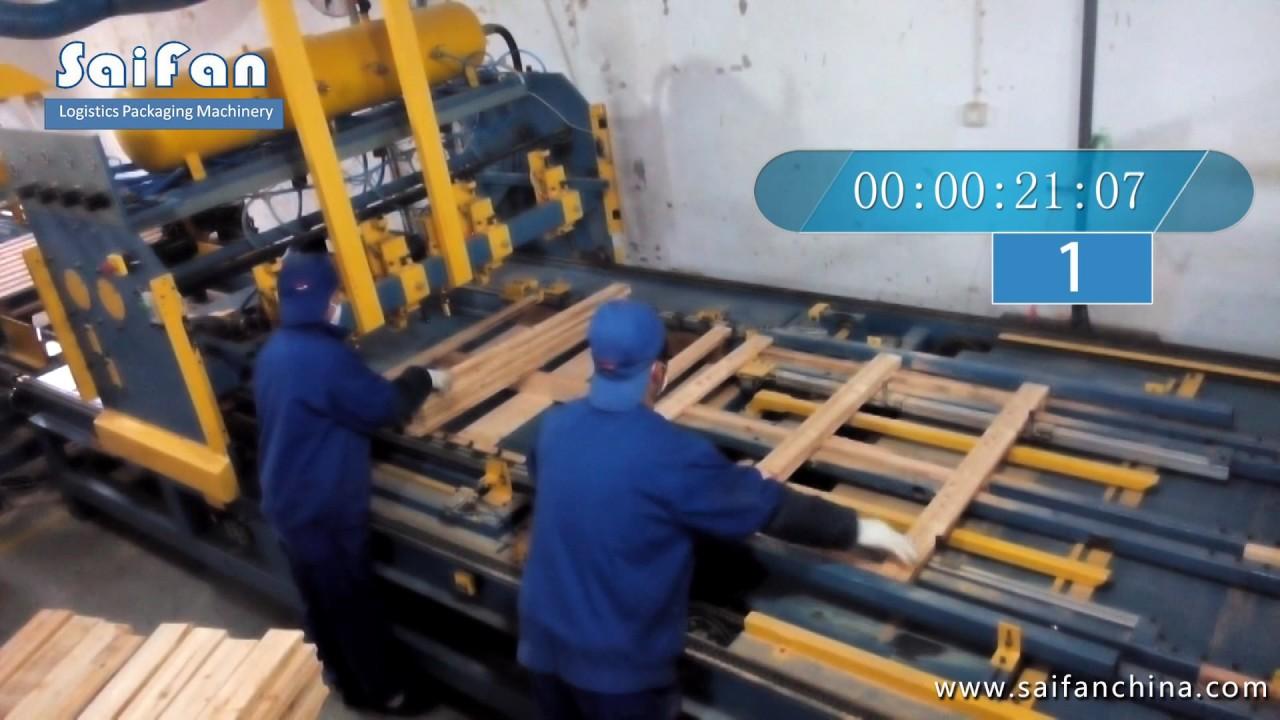 wood pallet machinery stringer pallet nailing machine ...