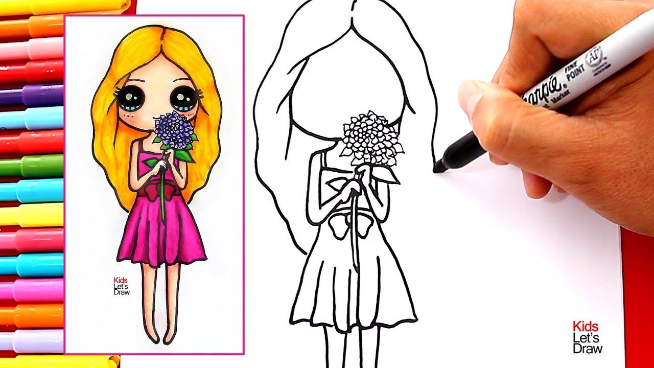 Cómo Dibujar Una Chica Kawaii Con Flores En La Mano How To Draw A Kawaii Girl With Flowers