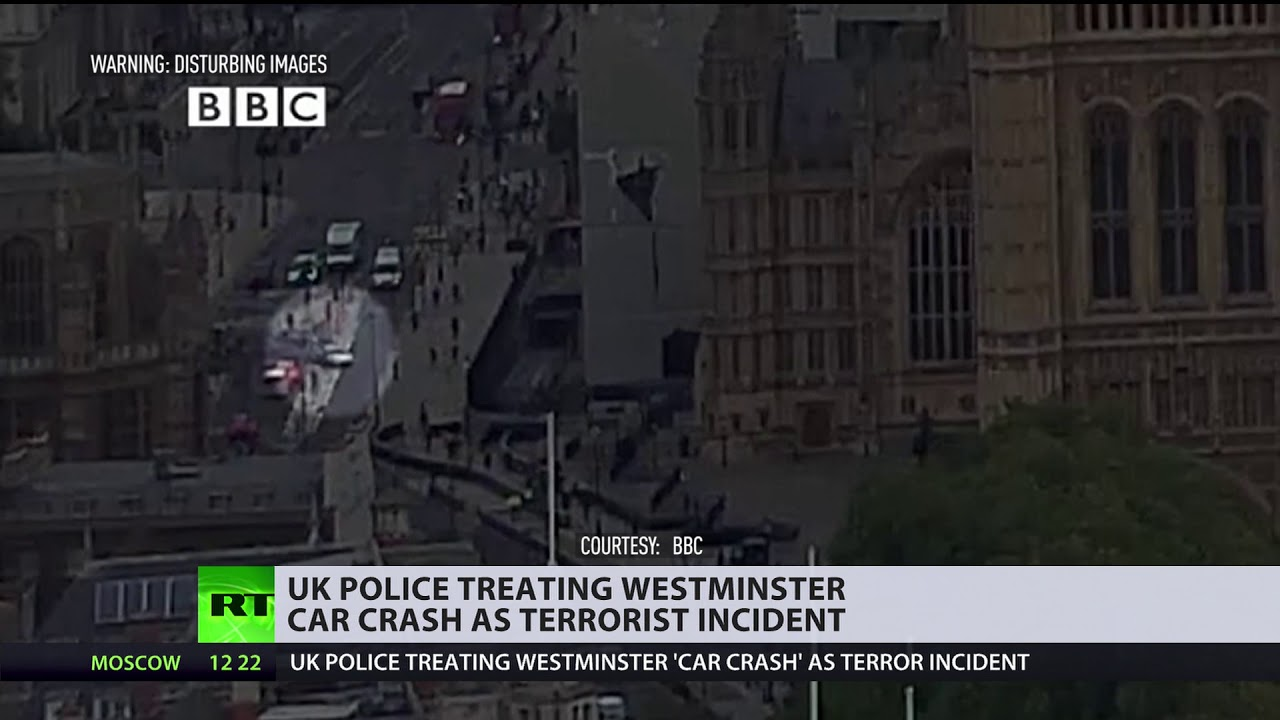 Moment car rams into Westminster's barriers in London's latest terrorist attack