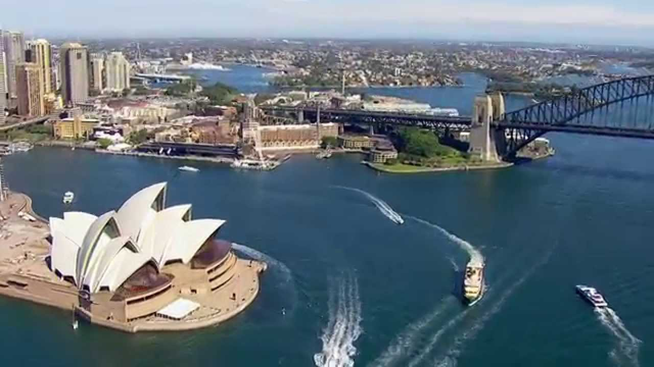 Sydney opera house and harbour bridge - Fly By Of Sydney Opera House Harbour Bridge And The Cbd