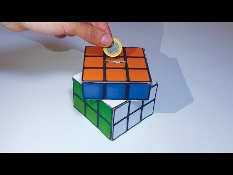 Amazing DIY Rubik's Cube Coin Bank Box , SOLVE IT to OPEN IT!