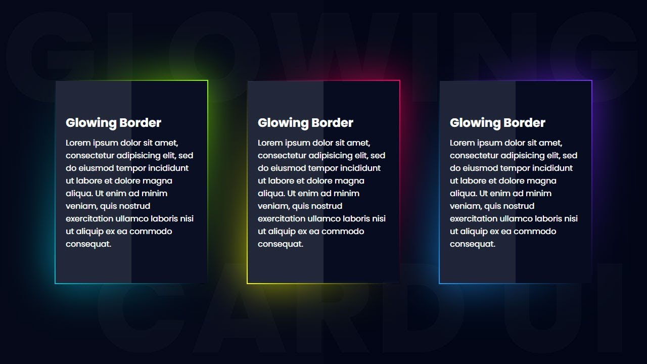 CSS3 Glowing Gradient Border Card UI Design | Html CSS ...