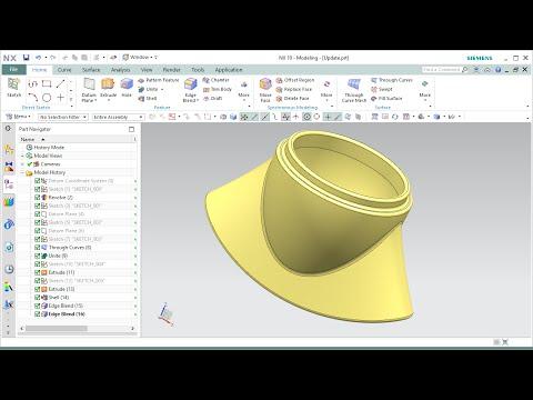 สื่อการเรียนการสอน  NX 10 Surface Modelling : Through Curve  : NC Education