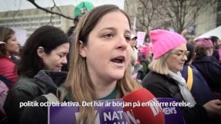 Hundratusentals samlas i protest mot Trump