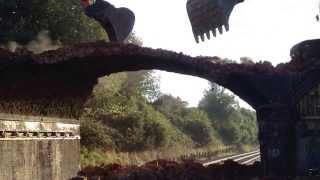 The demolition of railway bridge 44 at Rushton Northamptonshire