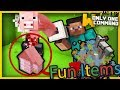 Minecraft - Fun Items Pack with Only Two Commands (Pig Launcher, Rainbow Horse, Bunker & more!)