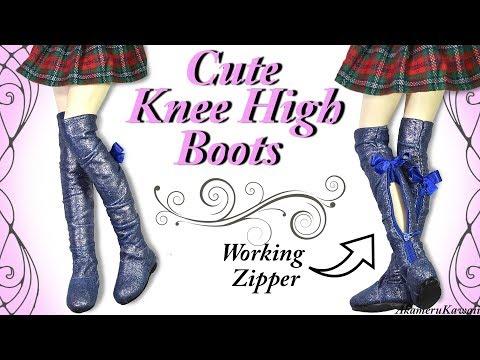 Cute Knee High Boots w. working zipper - BJD / Barbie Doll Tutorial