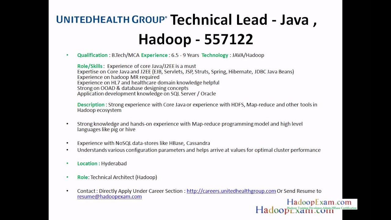 jobs by hadoopexamcom hadoop and bigdata with java - Hadoop Developer Resume