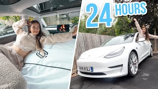 24 HOURS LIVING IN MY CAR! TESLA MODEL 3!
