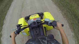 10 Year Old On a Yamaha Banshee 350 (And he starts it!)