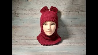 Детская шапка-шлем-бант спицами