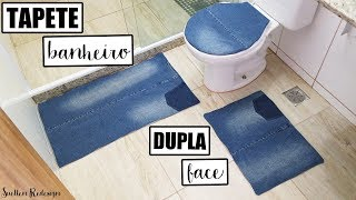 Conjunto de tapetes para banheiro dupla face feito com jeans reutilizado