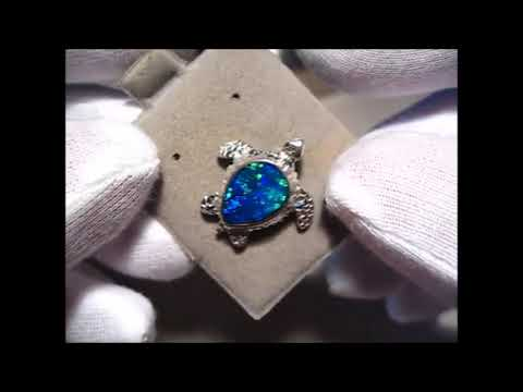 Blue Opal Pendant 925 Silver Sea Turtle | FlashOpal