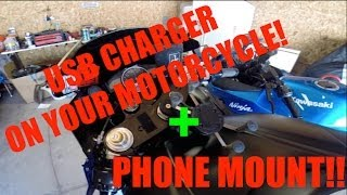USB Charger On A Motorcycle + Phone Mount