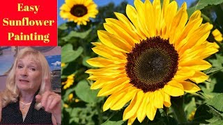 How to paint a Sunflower with Acrylic Paint Lesson 1, step by step
