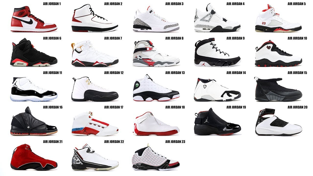 jordan shoes from 1 to 23