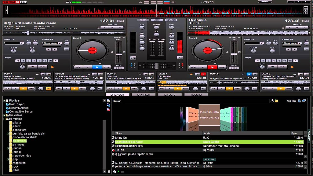 mezclando musica electronica virtual dj 6 decks por DjArturo
