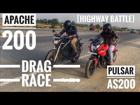 Tvs Apache 200 4v v/s  Pulsar AS200 || Highway battle || Race