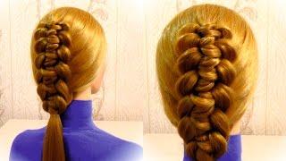 Прическа с плетением на средние волосы. Быстрая прическа. Braiding hair for medium hair