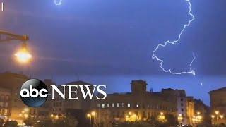 Lightning illuminates the night sky in Pamplona