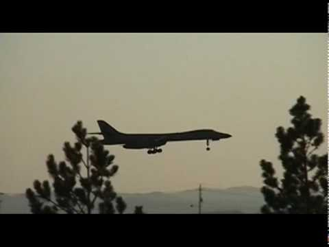 B-1 Bomber landing at Ellsworth AFB- South Dakota