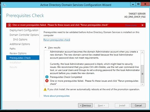 one or more prerequisites failed, please fix these issues and click active directory configuration