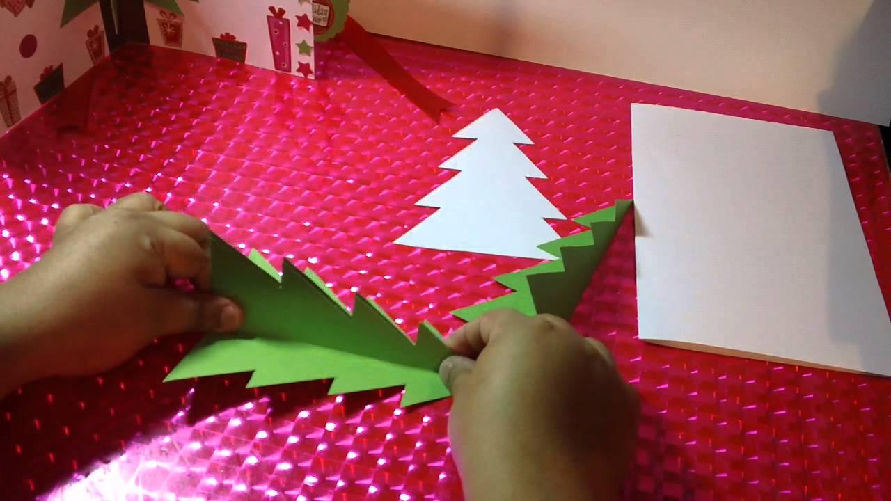 Tarjeta con pino de navidad 3d facil youtube - Como hacer targetas de navidad ...