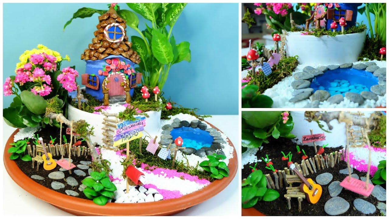 Jard n de hadas diy casita hada hecha de botella de coca for Figuras para jardines