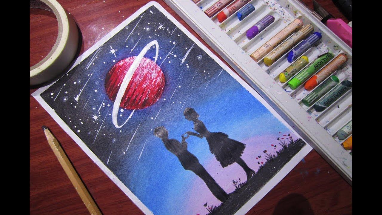 Cách vẽ 1 bức tranh về tình yêu đơn giản và dễ dàng với màu sáp dầu