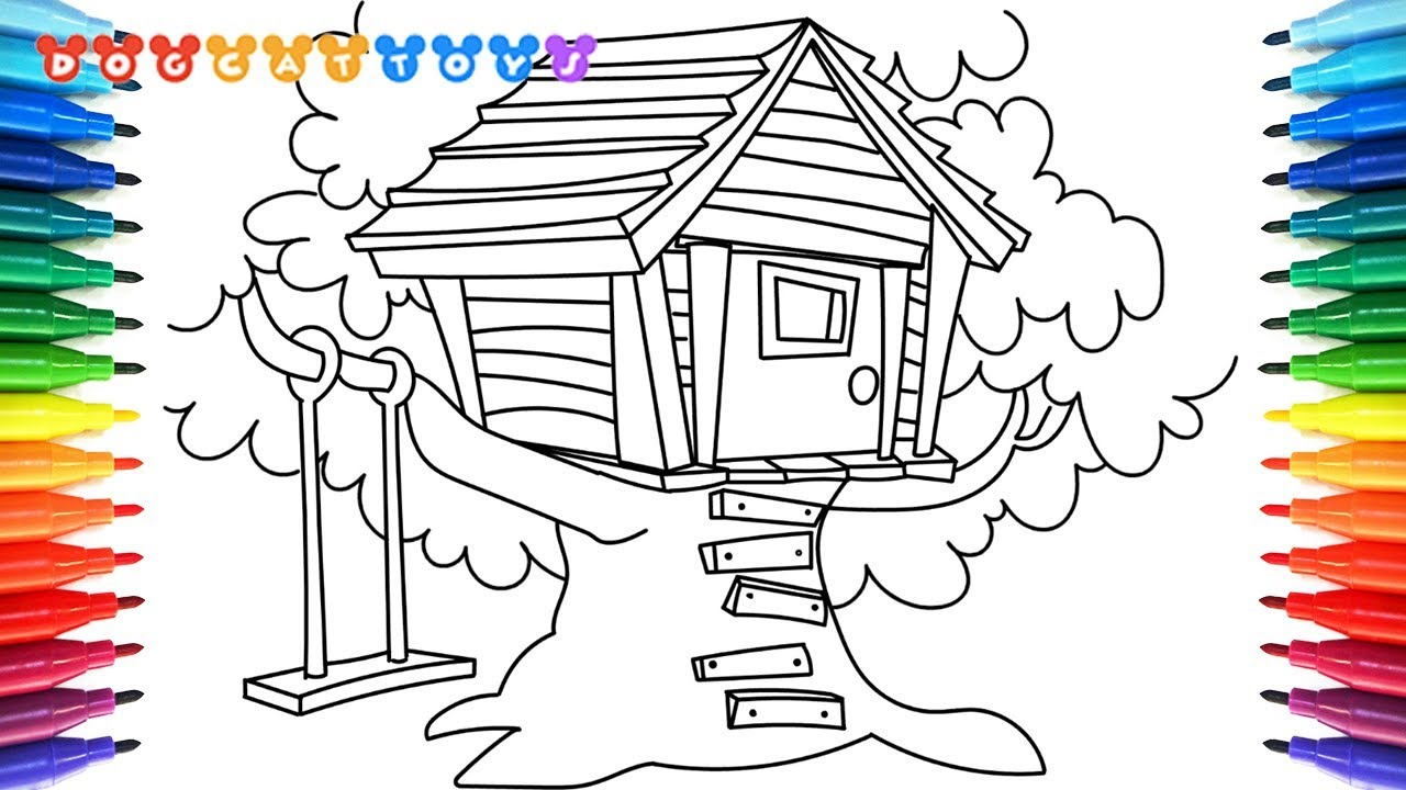 How to Draw A Treehouse Coloring Pages   Drawing, Coloring & Art for Kids  #138